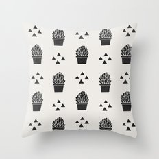 Stamped Potted Succulents Throw Pillow