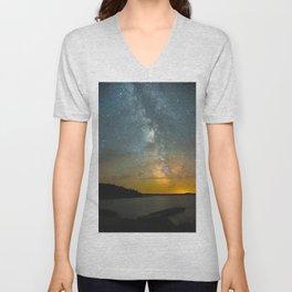 Milky Way Galaxy in Manitoba Unisex V-Neck