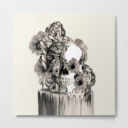 Life on a pedestal, floral skull Metal Print