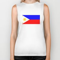 philippines Biker Tanks featuring Philippines country flag by tony tudor