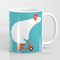 bear Mugs featuring Polar bear on scooter by Picomodi