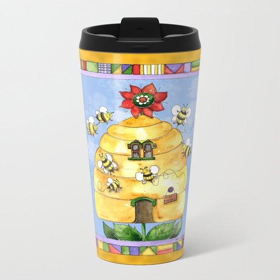 Busy Bees with Border Metal Travel Mug