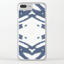 Navy Nautical Diamond Pattern Clear iPhone Case