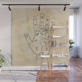 Palmistry Diagram - Palm Reading Chart - Palm Reading Guide Illustration Wall Mural