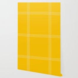 Fine Lined Cross on Yellow Wallpaper