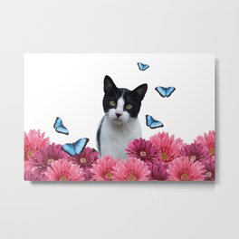 Black and white Cat with Gerbera Flowers Metal Print