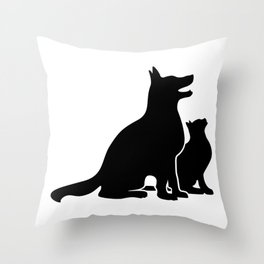 Dog and Cat BFFs Throw Pillow