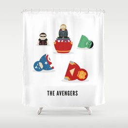 The Avengers open Russian doll illustration Shower Curtain