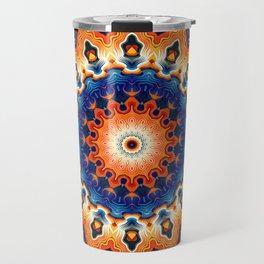 Geometric Orange And Blue Symmetry Travel Mug