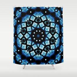Blue Black Mosaic Kaleidoscope Mandala Shower Curtain