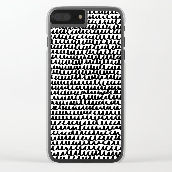 Black Wave Lines on White Clear iPhone Case