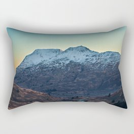 Sunset on a Snow Covered Mountain Photography Print Rectangular Pillow