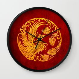 Traditional Yellow and Red Chinese Phoenix Circle Wall Clock