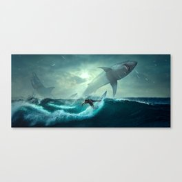 Surfer Versus Sharks Canvas Print