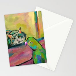 Cat and Parrot Painting, Fauvism Style, Modern Wall Art, loose painting, Impressionism Stationery Cards