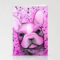 frenchie Stationery Cards featuring Frenchie  by ClarissaLynnArt