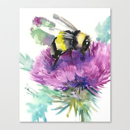 Bumblebee and Thistle Flower, honey bee floral Canvas Print