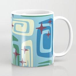 Mid Century Modern Cosmic Galaxies 728 Blue Green and Cream Coffee Mug
