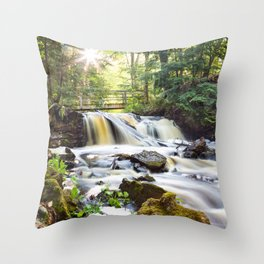 Upper Chapel Falls at Pictured Rocks National Lakeshore - Michigan Throw Pillow