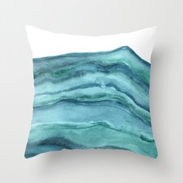 Watercolor Agate - Teal Blue Throw Pillow