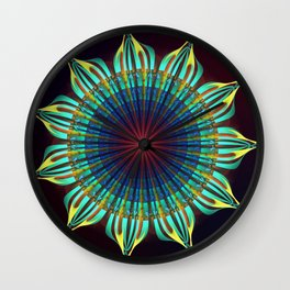 Starry fantasy flower with tribal patterns Wall Clock
