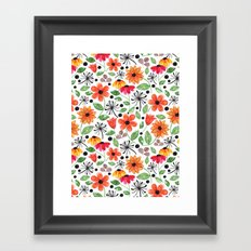 Dandelions & Flowers / White Framed Art Print