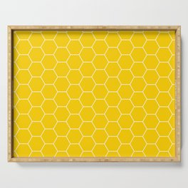 Honeycomb yellow and white pattern Serving Tray