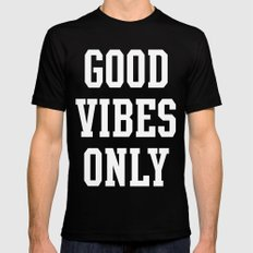 Good Vibes Only MEDIUM Black Mens Fitted Tee