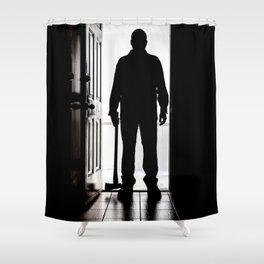Bad Man at door in silhouette with axe Shower Curtain