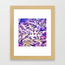 Foliage Abstract Camouflage In Pale Purple and Violet Pastels Framed Art Print
