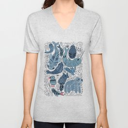 Arctic animals. Polar bear, narwhal, seal, fox, puffin, whale Unisex V-Neck