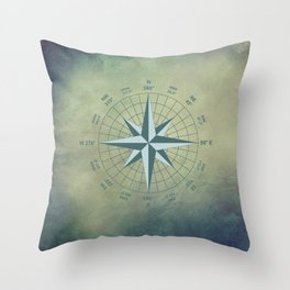 Compass Graphic on Grey Textured background Throw Pillow