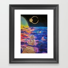 Space Clouds Crystals Framed Art Print