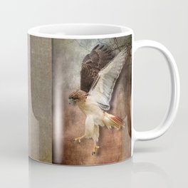 Red Tail Hawk in Vintage Light Coffee Mug