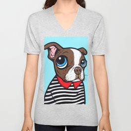 Brown Boston Terrier Dog Unisex V-Neck