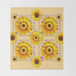 CREAM COLOR WESTERN STYLE YELLOW SUNFLOWERS Throw Blanket