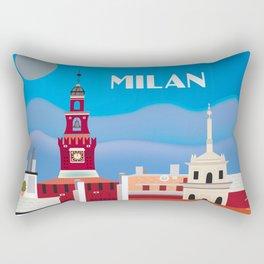 Milan, Italy - Skyline Illustration by Loose Petals Rectangular Pillow