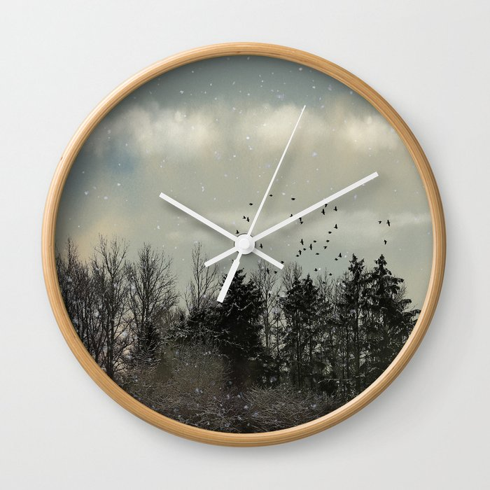 Winter, snow, frosty day. Wall Clock