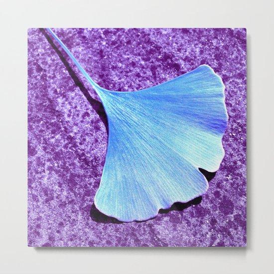 blue ginkgo leaf IX Metal Print