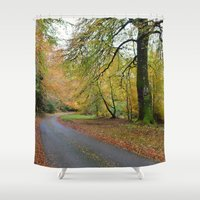 scotland Shower Curtains featuring Scotland Backroad by Kristie Anderson