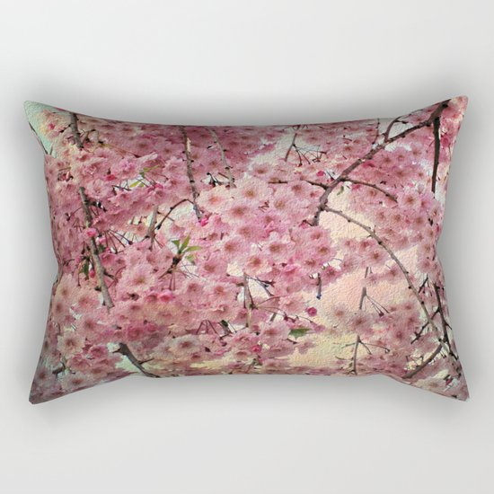 Raining Cherry Blossoms - Painterly Abstract Rectangular Pillow
