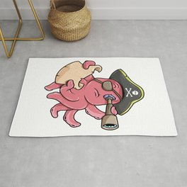 Octopus as Pirate with Treasure map and Binoculars Rug