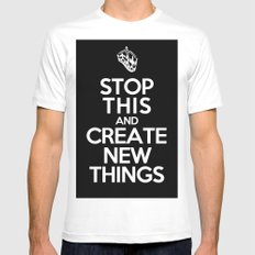 Stop This White MEDIUM Mens Fitted Tee