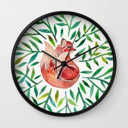 Woodland Fox – Green Leaves Wall Clock