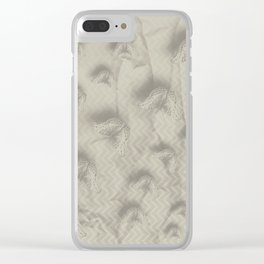 Butterfly swarm on textured chevron pattern Clear iPhone Case