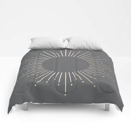 Simply Sunburst in White Gold Sands on Storm Gray Comforters