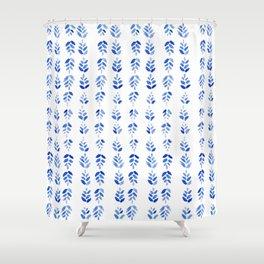 Indigo Blossom - nature watercolour pattern Shower Curtain