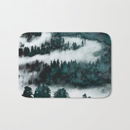 Foggy Forest Fun - Turquoise Mountains Bath Mat