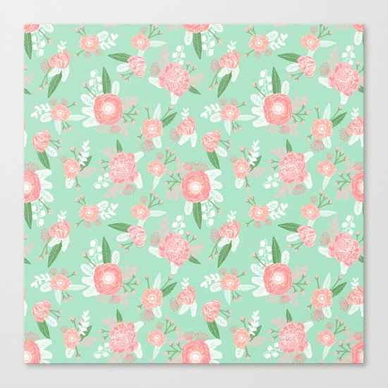 Floral bouquet pastel mint pink florals boho painted pattern basic minimal pattern print Canvas Print