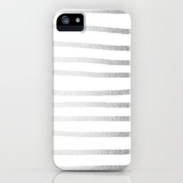 Simply Drawn Stripes Moonlight Silver iPhone Case